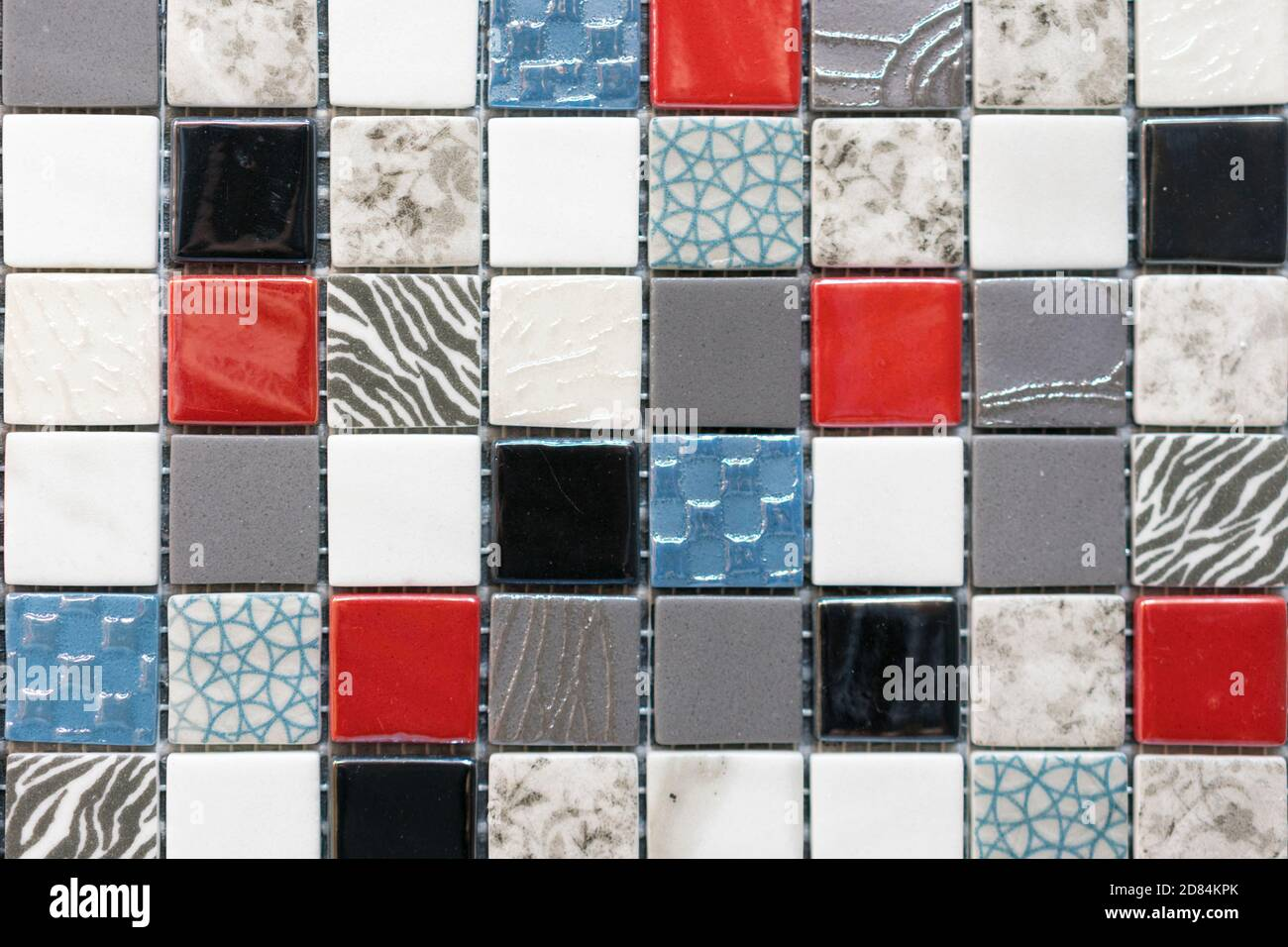 Ceramic Mosaic Tiles With White And Brown And Red Embossed Squares To Decorate The Kitchen Bathroom Or Pool Mosaic Of Brown Marble In The Form Of Stock Photo Alamy