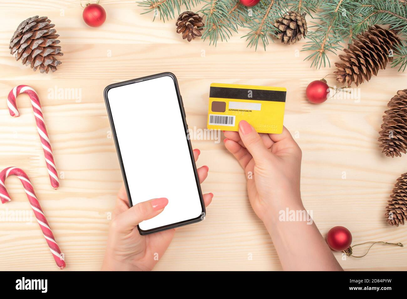 Christmas Online Shopping Concept Online Shopping Concept With Woman Hand Using Phone And Looking Credit Card For Purchase Order Product Winter Holi Stock Photo Alamy