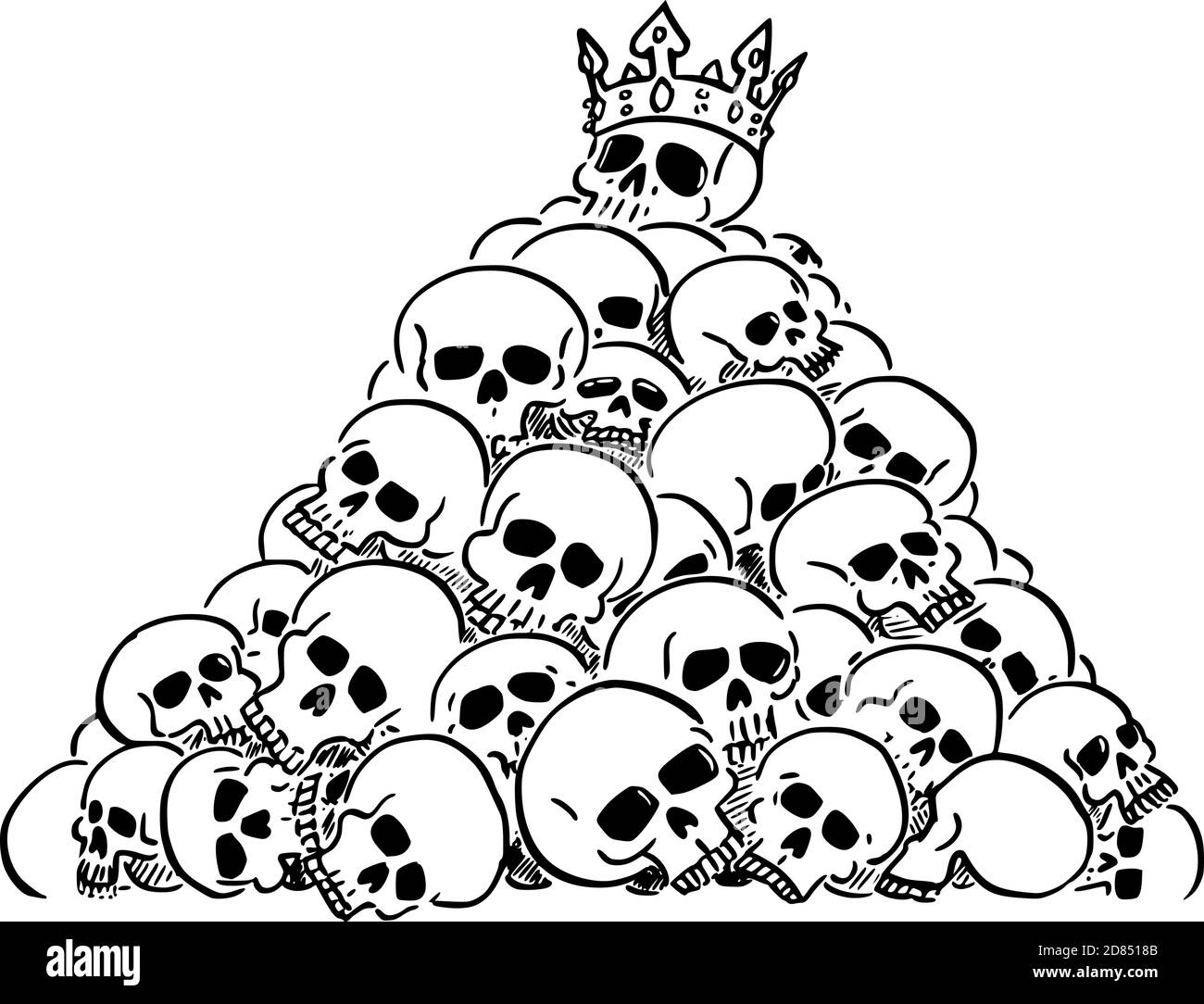 Vector cartoon illustration of heap or pile of human skulls. Skull of leader or king is on top. Concept of violence, epidemic, war, death, evanescence and fleetingness. Stock Vector