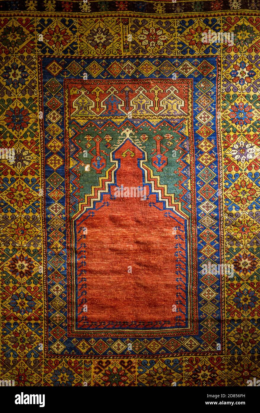 Ankara, Turkey; 08 October 2020: Closeup detail view of Anatolian carpet from ancient times Stock Photo