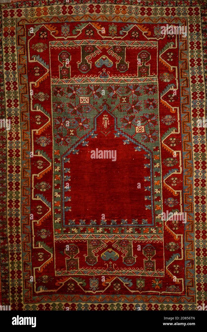 Ankara, Turkey; 08 October 2020: Closeup detail view of Anatolian carpet from ancient times Stock Photo