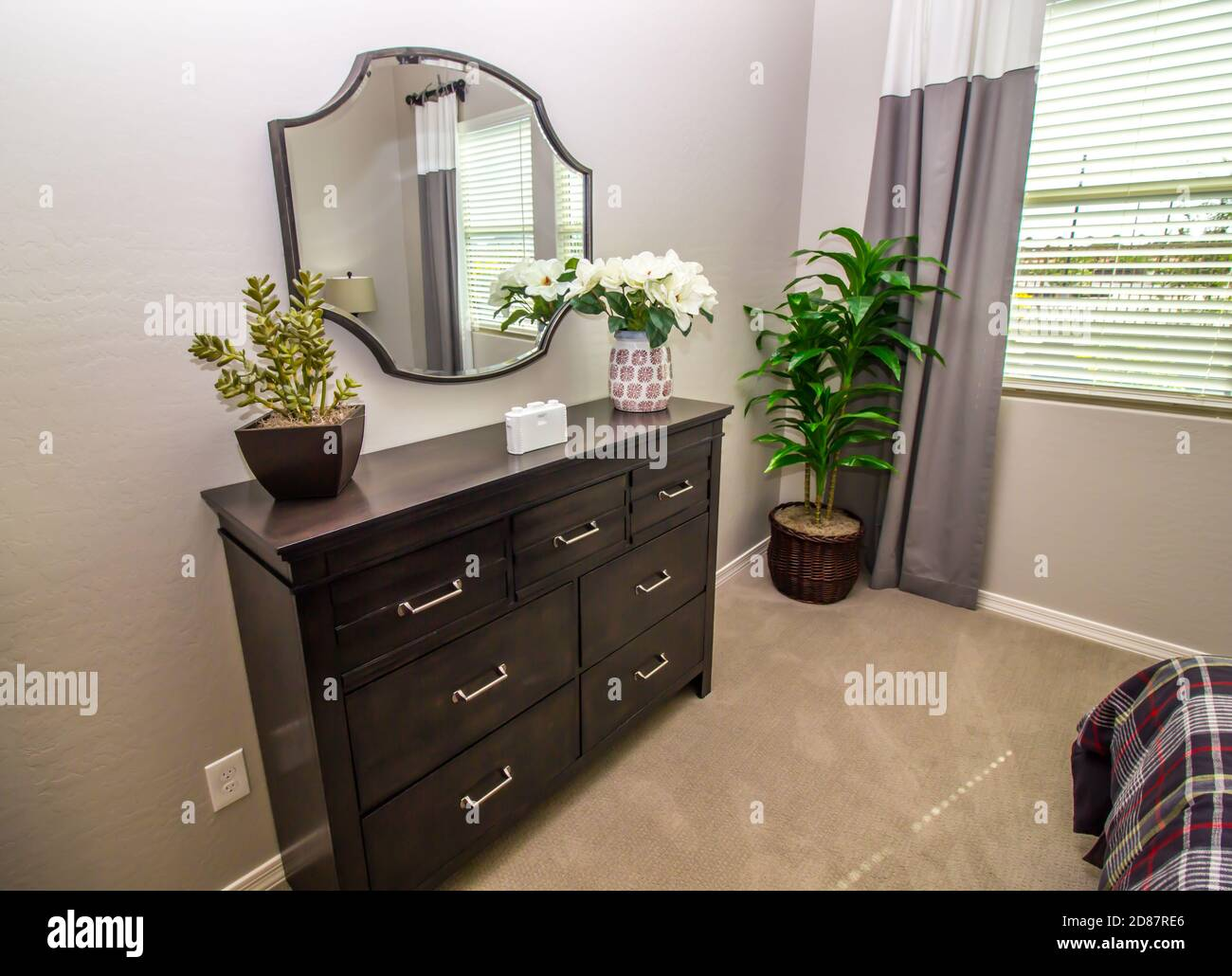 Bedroom With Wall Mirror Wooden Dresser Decorator Items Stock Photo Alamy