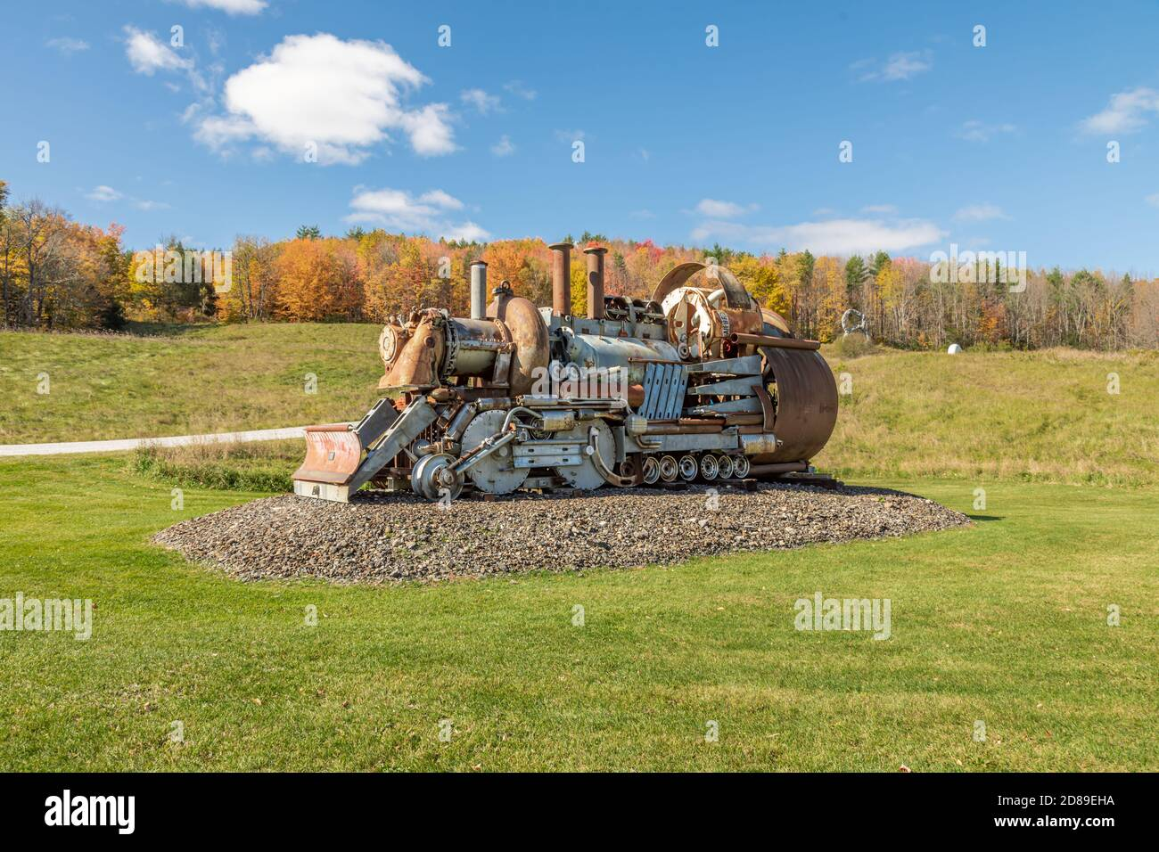 Full size steam locomotive made of junk by Guohua Xu in West Rutland, Vermont Stock Photo