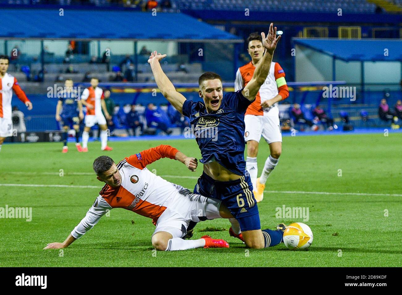 Bryan Linssen Of Feyenoord Rasmus Lauritsen Of Dinamo Zagreb During The Uefa Europa League Group Stage Group K Football Match Between Dinamo Zagr C Stock Photo Alamy