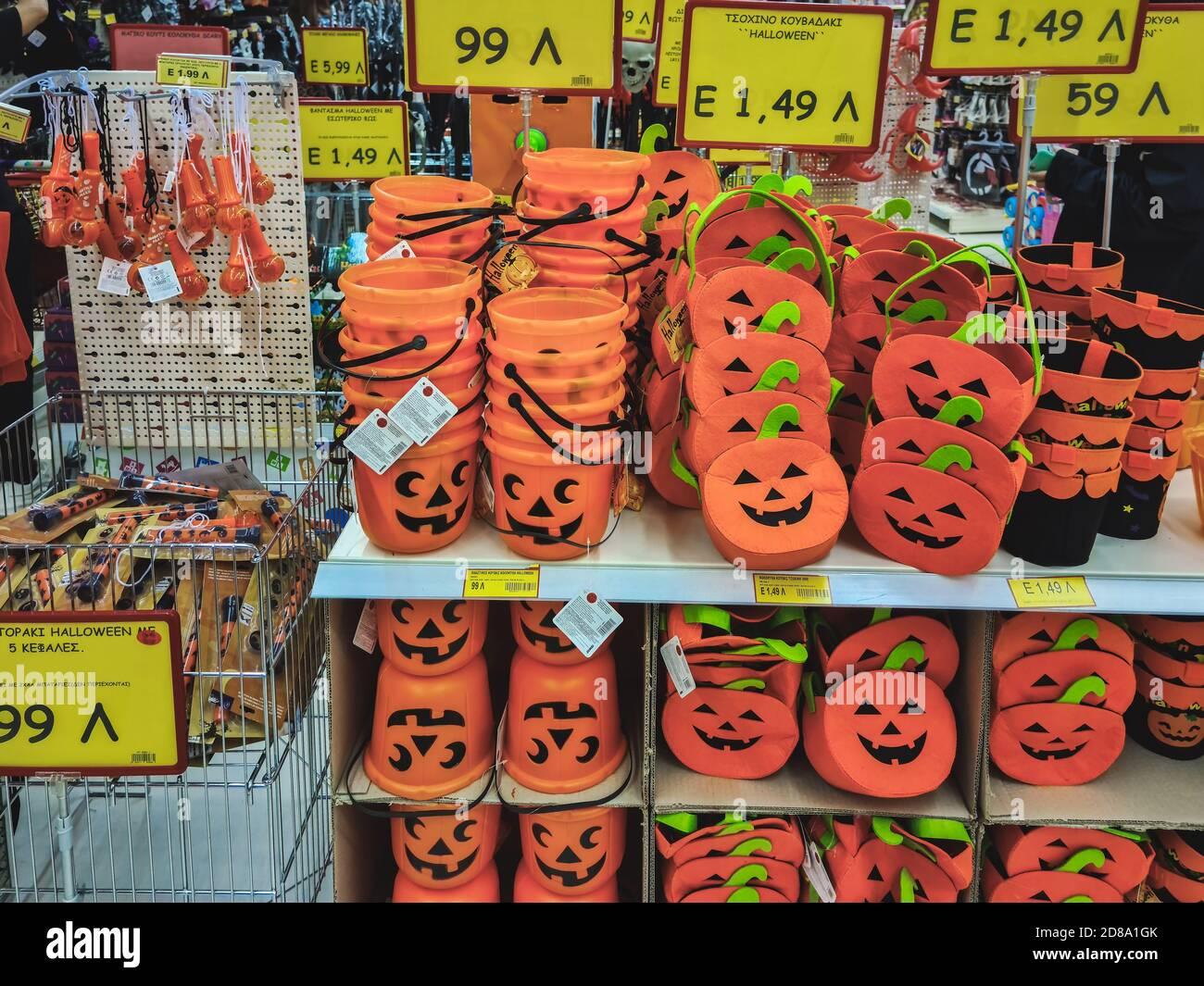 Safeway Halloween Decorations.Halloween Supermarket Products On Shelf Festive Decorations Including Pumpkin Mock Ups On Display For Sale Inside Shop Gallery In Thessaloniki Greece Stock Photo Alamy