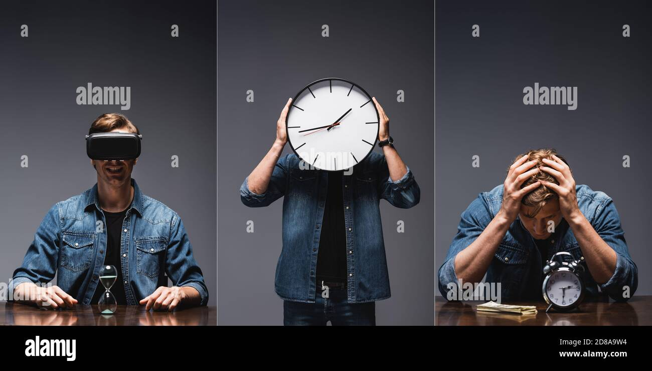 Collage of man holding clock near face, using vr headset near hourglass and sitting near alarm clock and cash on table on grey background Stock Photo