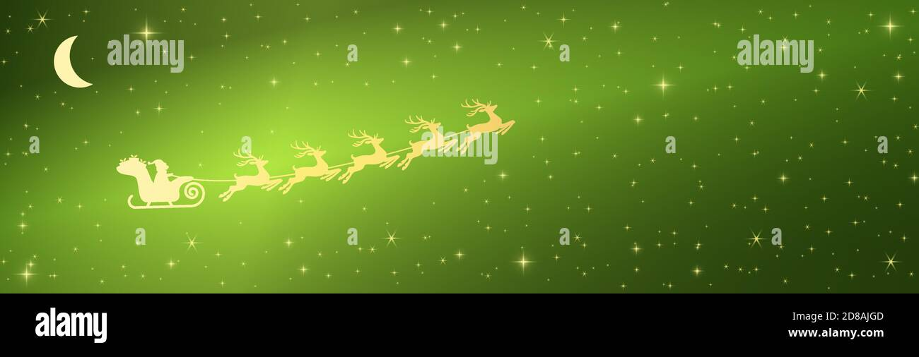 eps vector illustration with Santa Claus on sled with reindeer on starry heaven background colored green Stock Vector