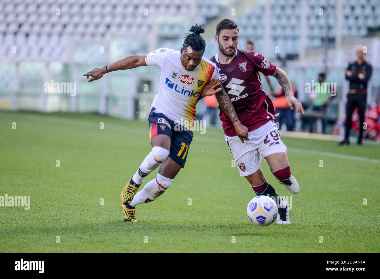 Nicola Murru of Torino FC and Claud Adjapong of US Lecce during the Coppa Italia football match between Torino FC and US Lecce at Olympic Grande Torin Stock Photo