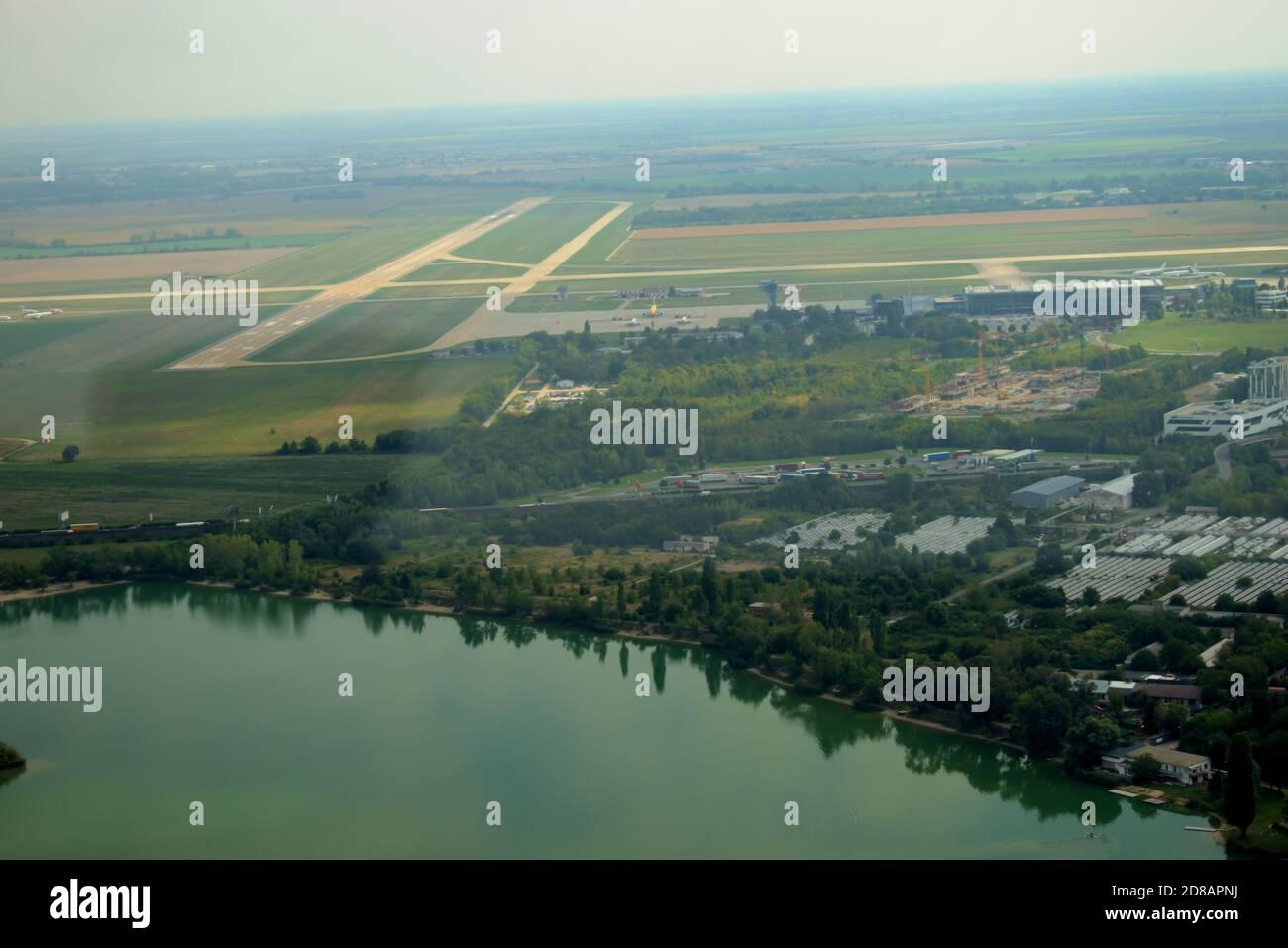Runway strip of the Bratislava international airport in Slovakia 11.9.2020 Stock Photo