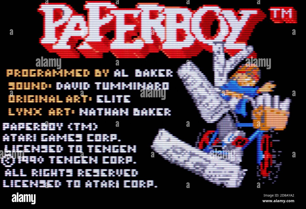 Paperboy - Atari Lynx Videogame - Editorial use only Stock Photo