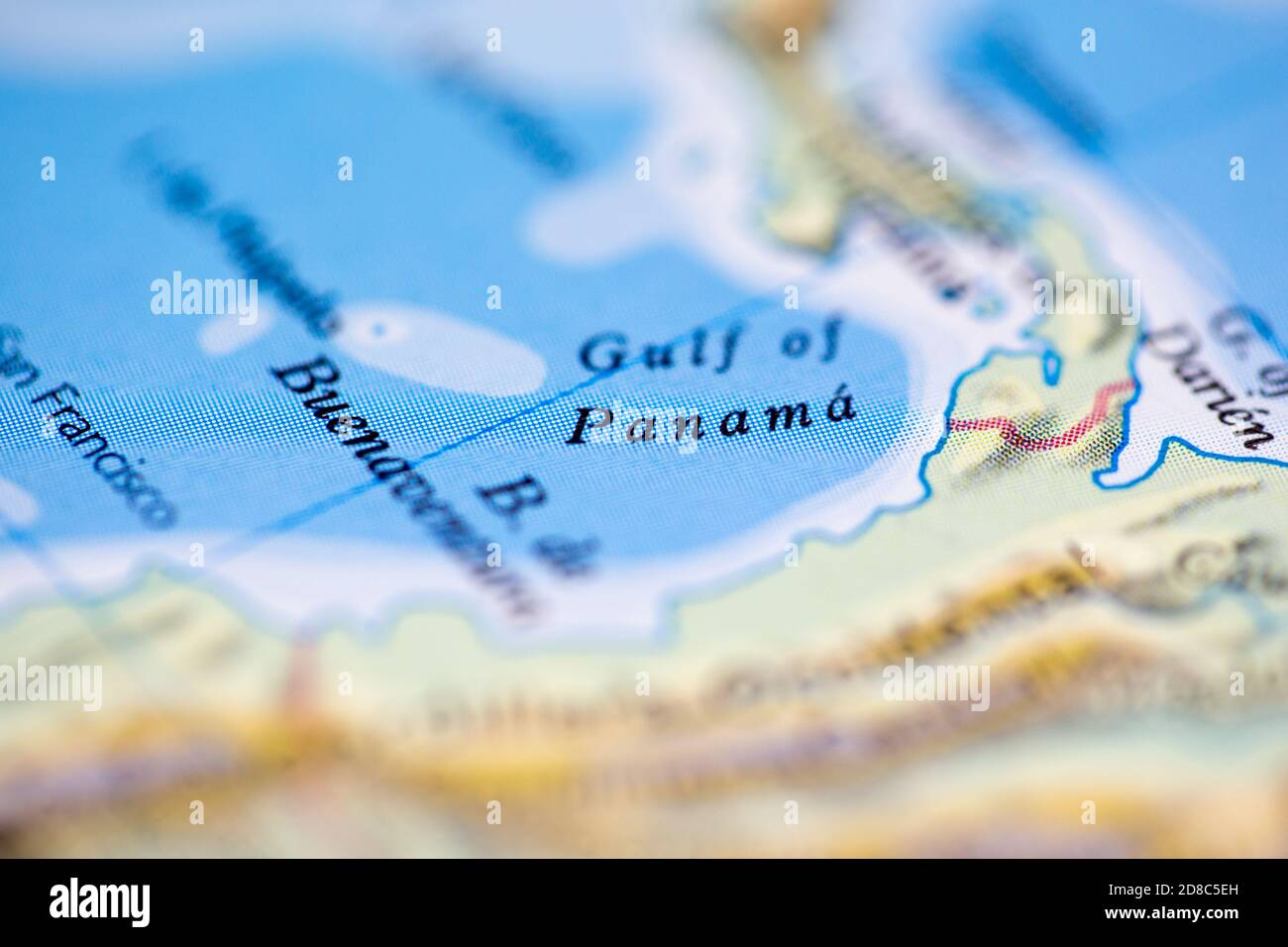 Picture of: Shallow Depth Of Field Focus On Geographical Map Location Of Gulf Of Panama Off Coast Of Panama On Atlas Stock Photo Alamy