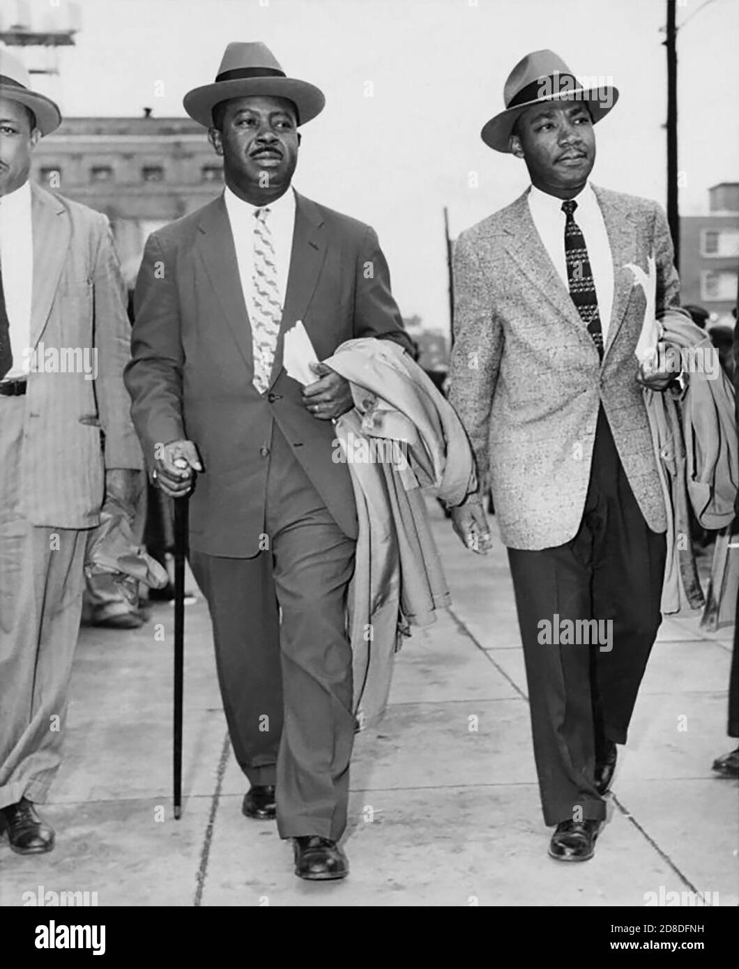 Ralph David Abernathy, Sr. and Martin Luther King, Jr., leaving the County Courthouse in Montgomery, Alabama, 1956. (USA) Stock Photo