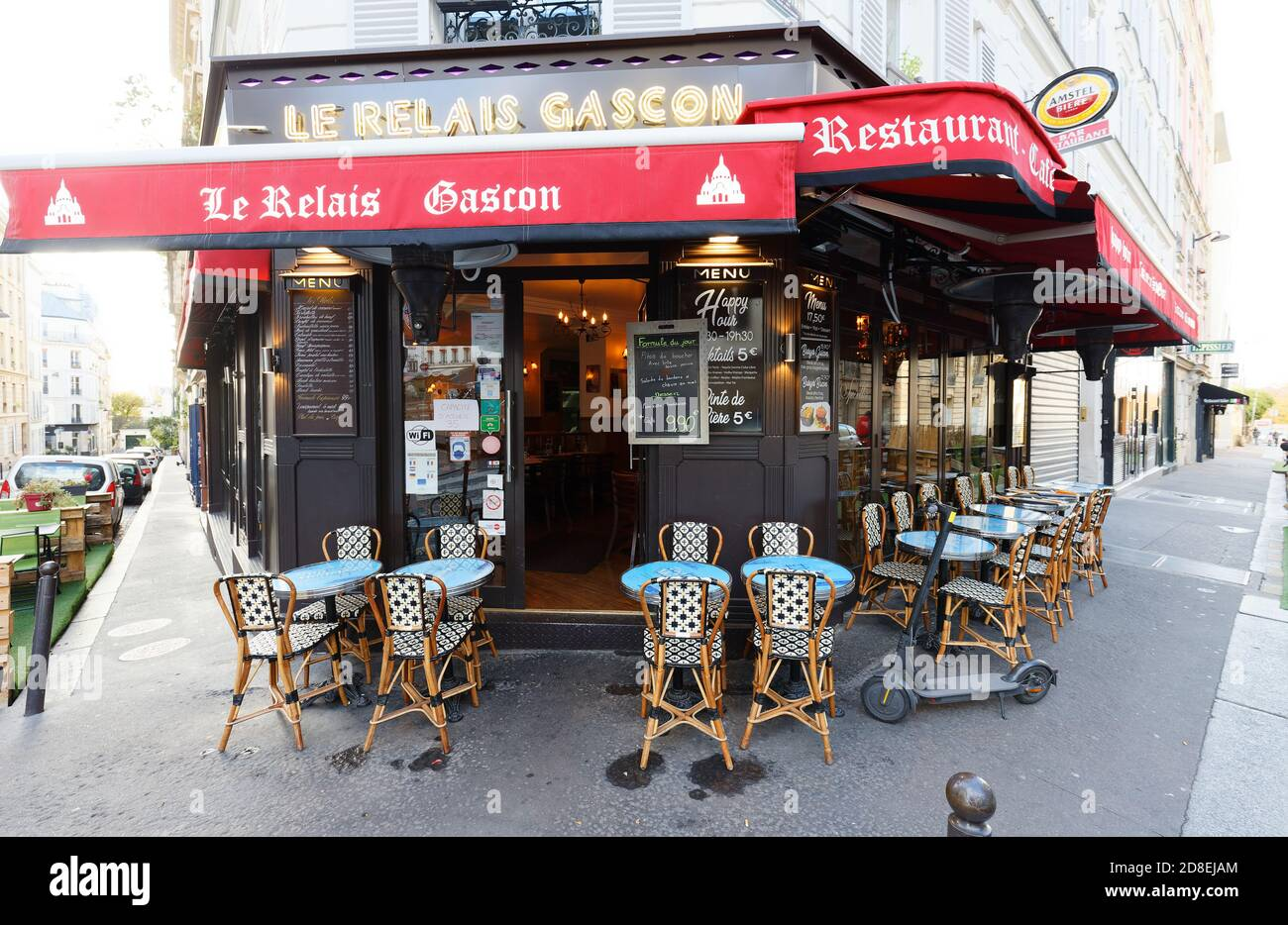 The traditional French restaurant Le Relais Gascon , Montmartre district of Paris, France. Stock Photo