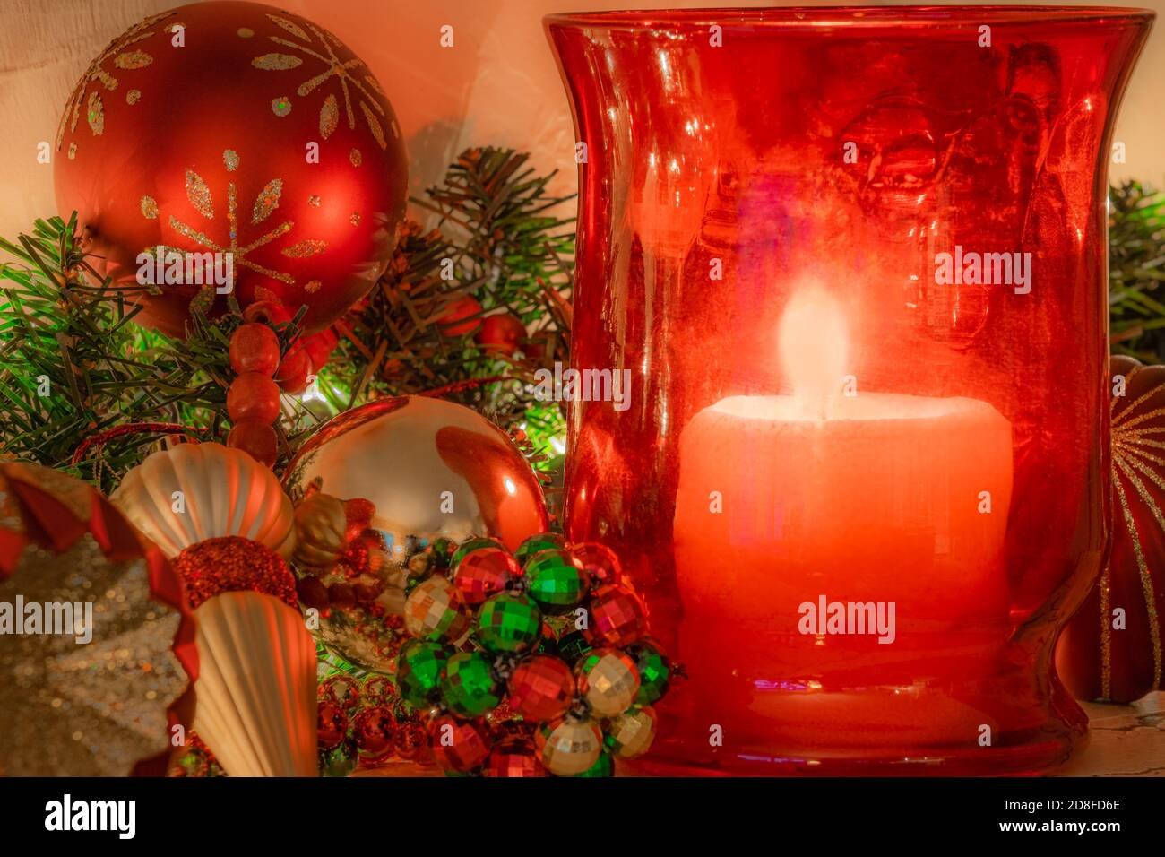 A Lit Candle And Christmas Ornaments High Resolution Stock Photography And Images Alamy