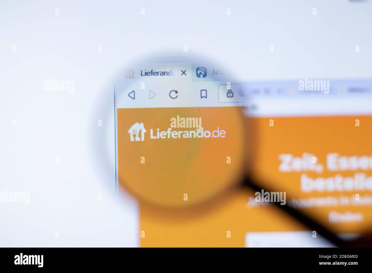 New York, USA - 29 September 2020: Lieferando lieferando.de company website with logo close up, Illustrative Editorial Stock Photo