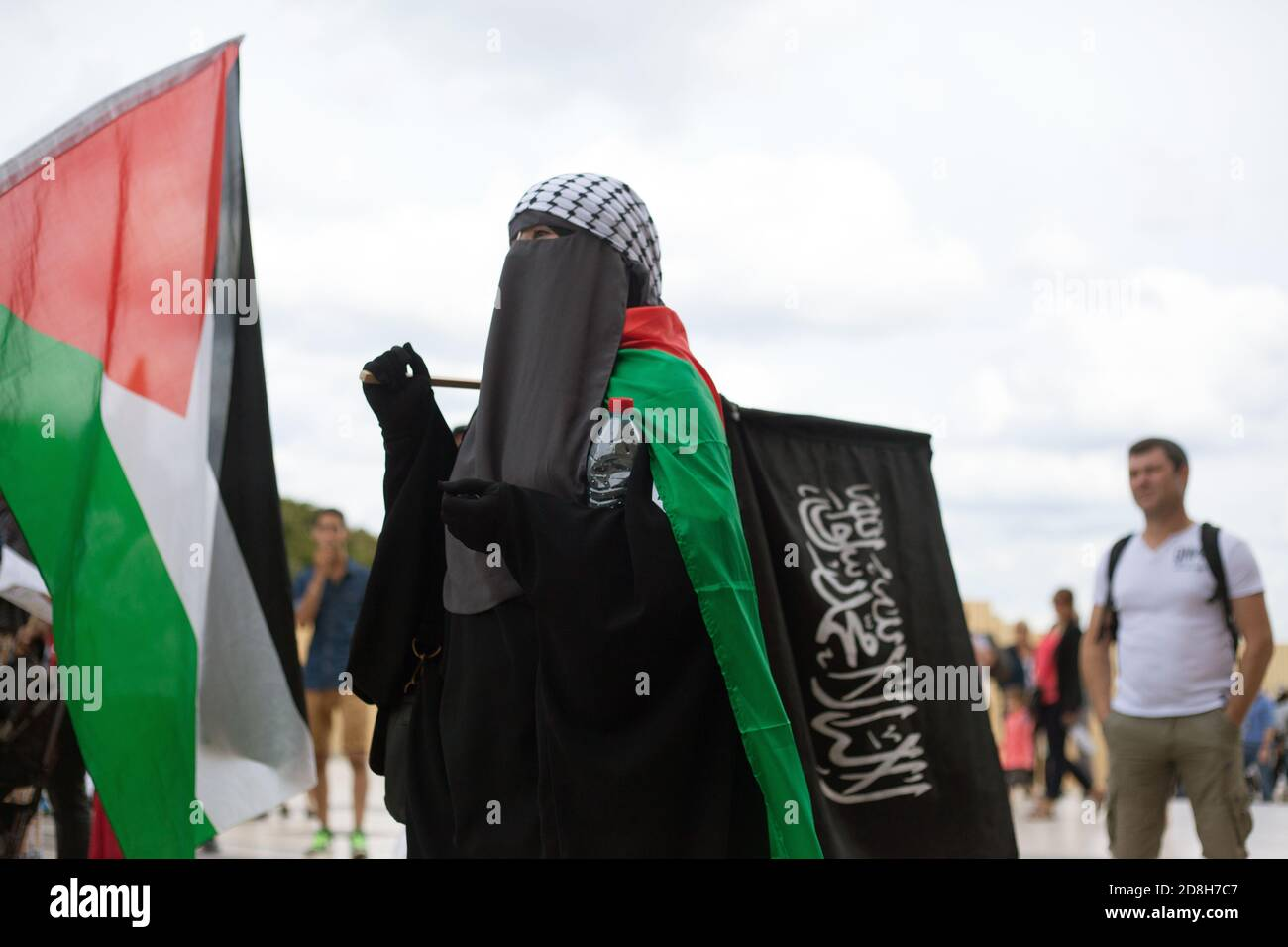 Daeh black flags of the Islamic state in a pro-Palestinian demonstration in Paris Trocadero France Stock Photo