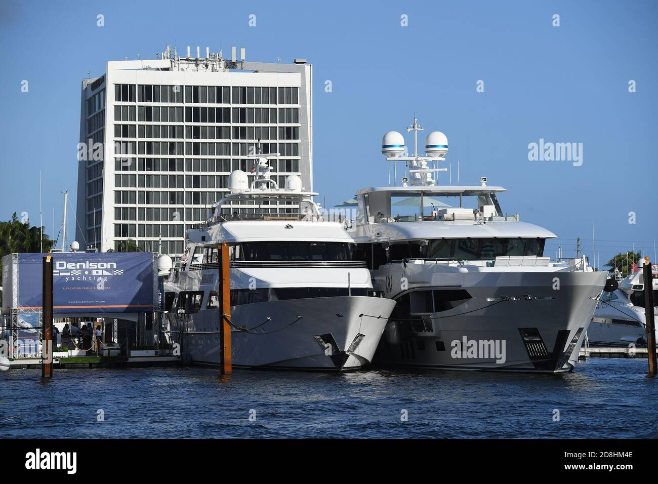 Fort Lauderdale FL, USA. 29th Oct, 2020. Yachts seen docked during the Fort Lauderdale International Boat Show at the Fort Lauderdale Marina on October 29, 2020 in Fort Lauderdale, Florida. Credit: Mpi04/Media Punch/Alamy Live News Stock Photo