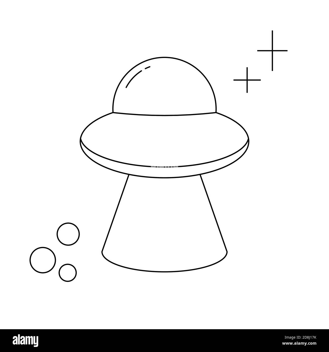 Cartoon Ufo For Flyer Design Isolated Vector Illustration Universe Galaxy Line Drawing Vector Icon Flying Saucer Stock Vector Image Art Alamy