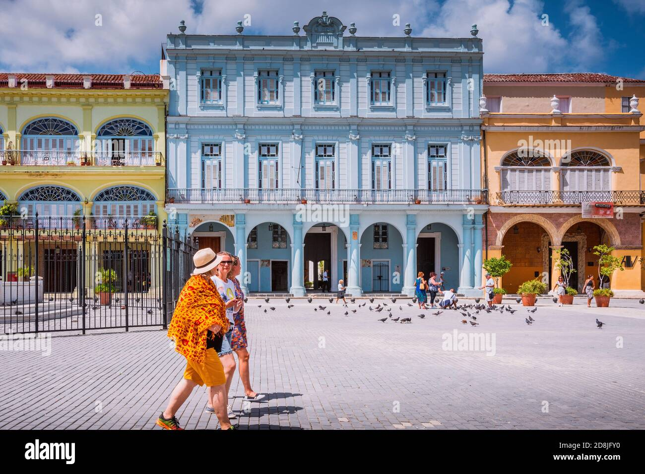 Colorful buildings in Plaza Vieja - Old Square. Cuba, Latin America and the Caribbean Stock Photo