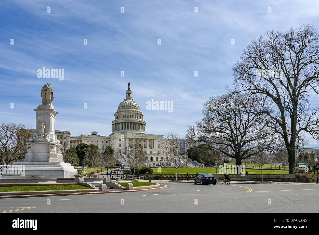 United States Capitol and Capitol Hill viewed from the National Mall. The Capitol building is the home of US Congress. Stock Photo