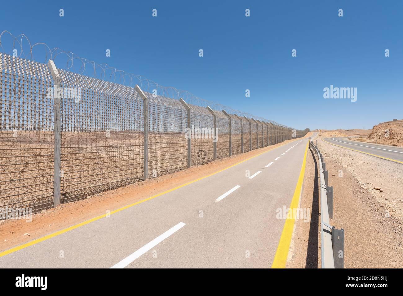 The Israeli border with Egypt in the Negev desert. Stock Photo