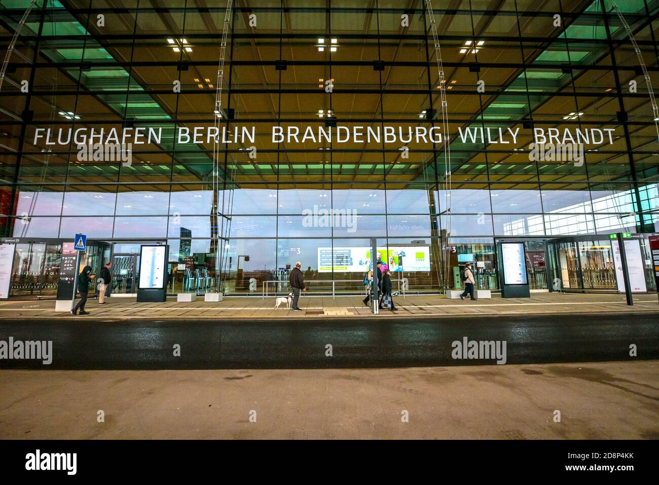 Exterior of Terminal 1 of newly opened Berlin Brandenburg International Airport (BER), or Flughafen Berlin Brandenburg Willy Brandt. Stock Photo