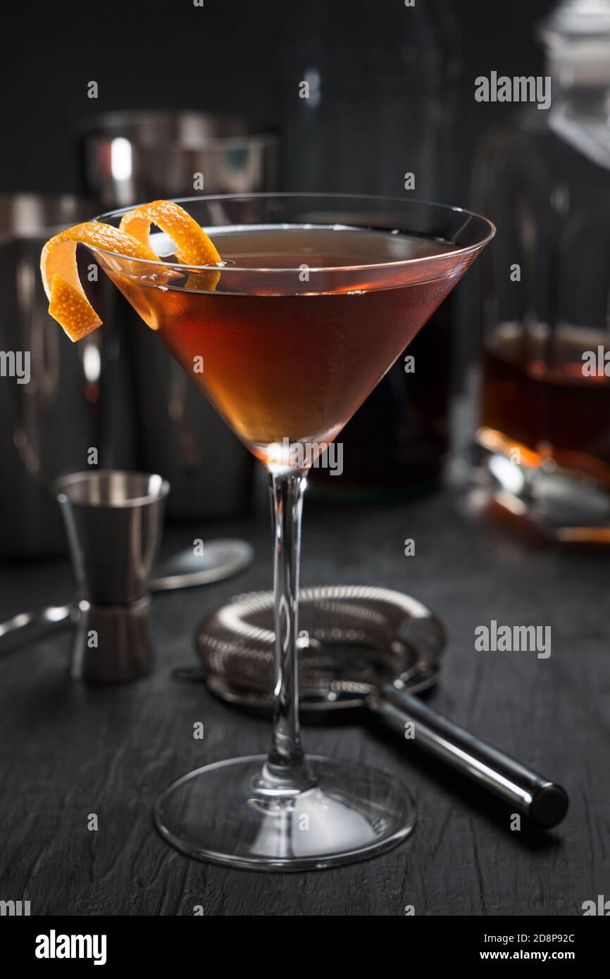 Manhattan Cocktail With An Orange Twist As A Garnish Stock Photo Alamy