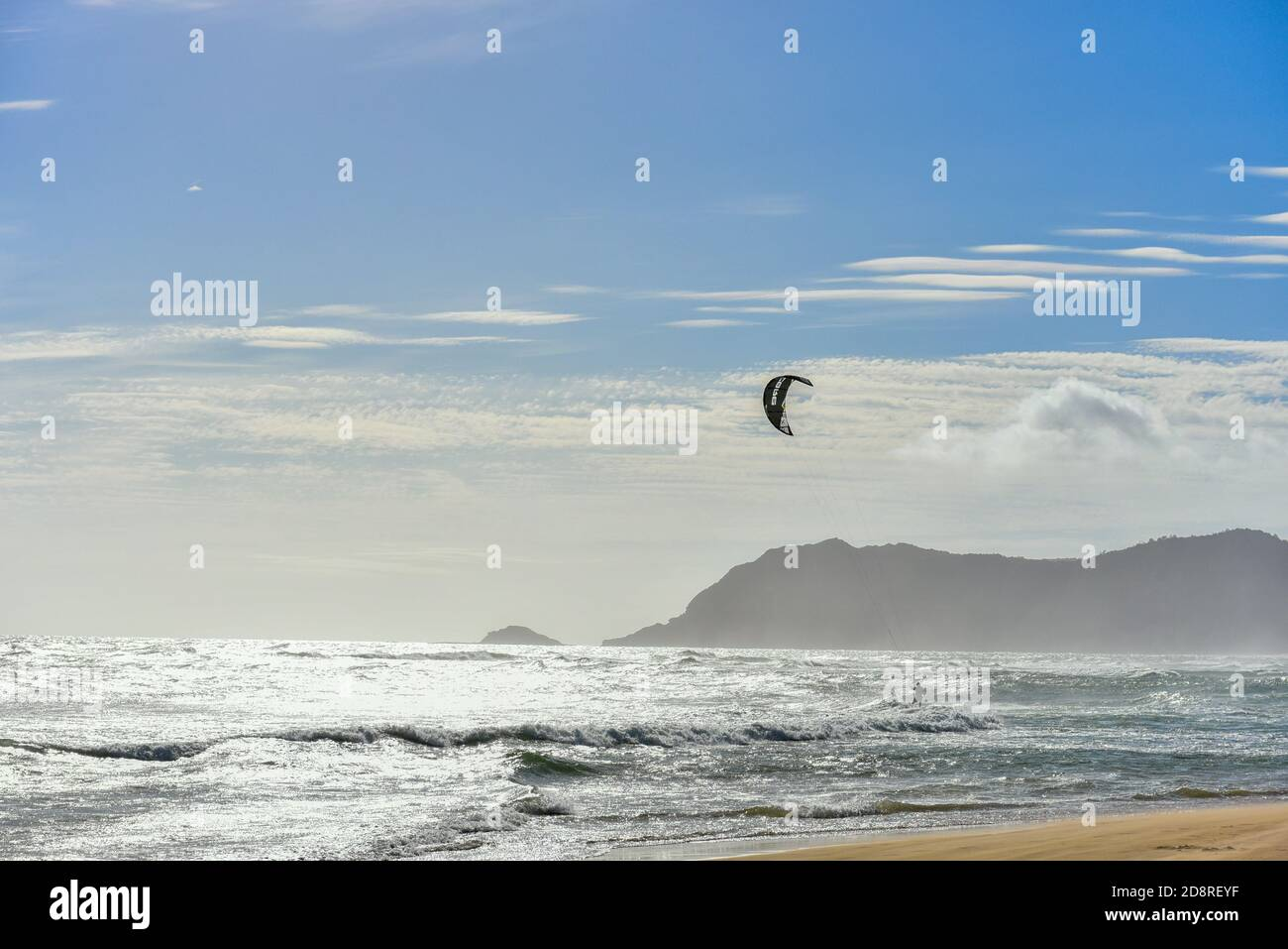 Kitesurfing/kiteboarding is a popular sport in the Garden of Eden, Sedgefield, Garden Route, South Africa Stock Photo