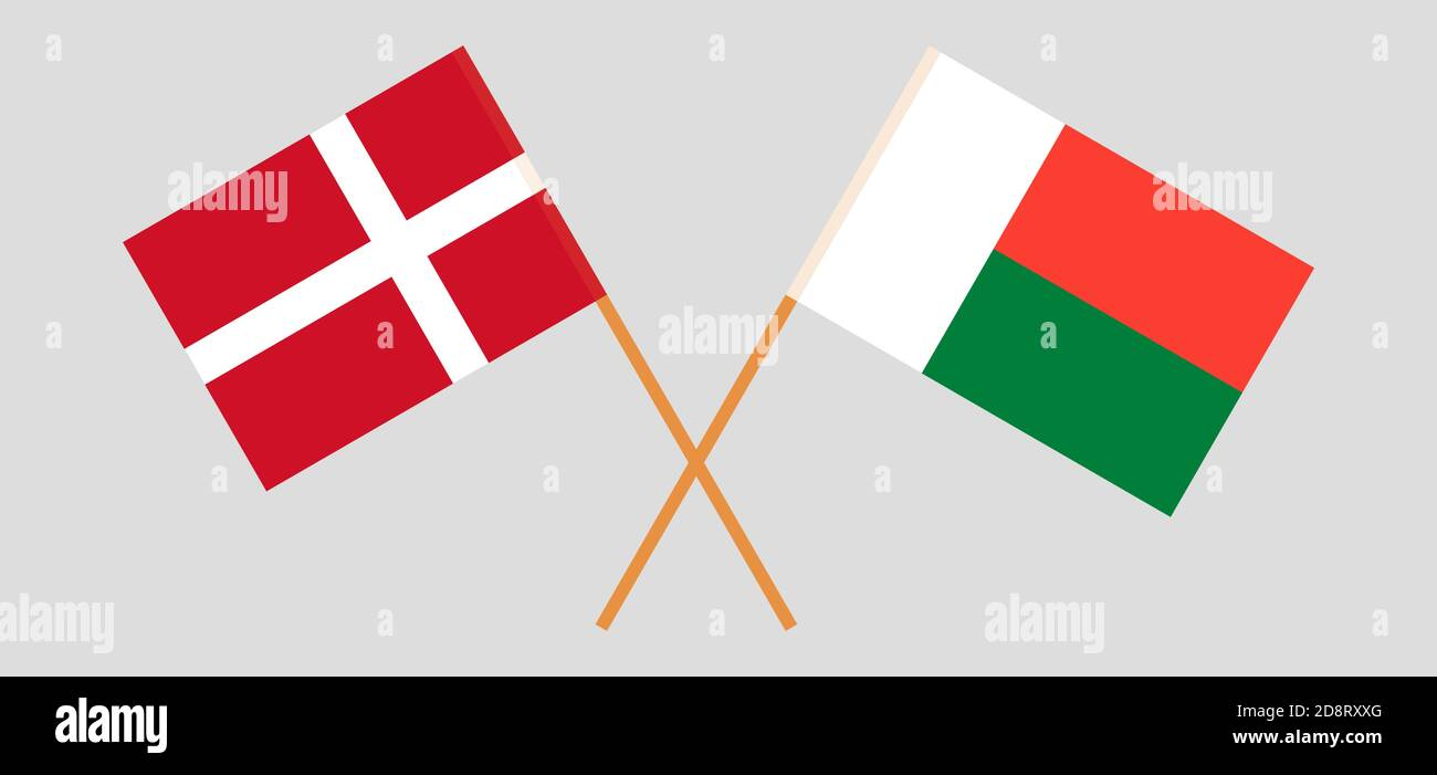 Crossed flags of Madagascar and Denmark. Official colors. Correct proportion. Vector illustration Stock Vector