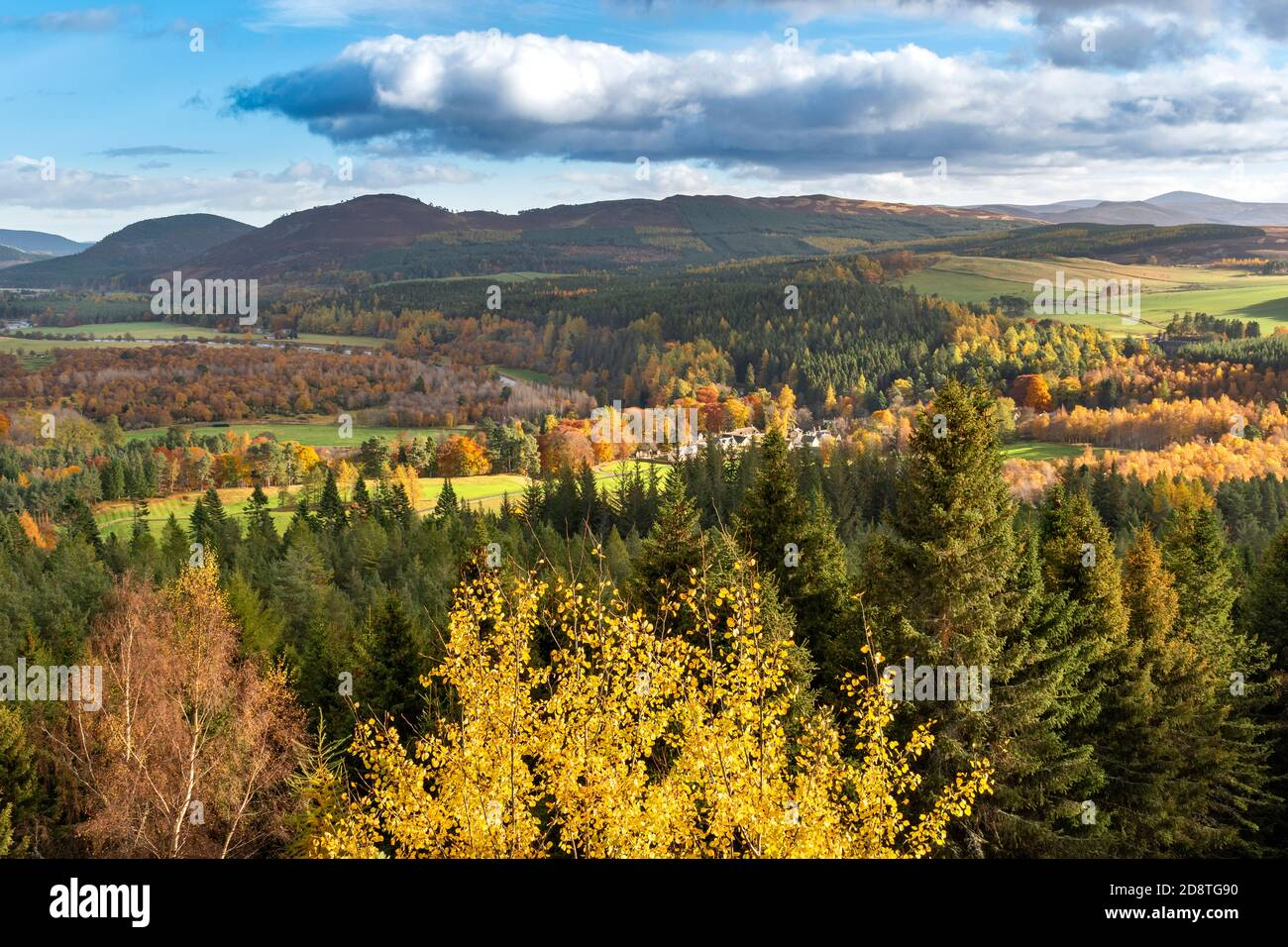 BALMORAL ESTATE RIVER DEE VALLEY ABERDEENSHIRE SCOTLAND LOOKING TOWARDS ESTATE HOUSES RIVER SURROUNDED BY TREES IN AUTUMN Stock Photo
