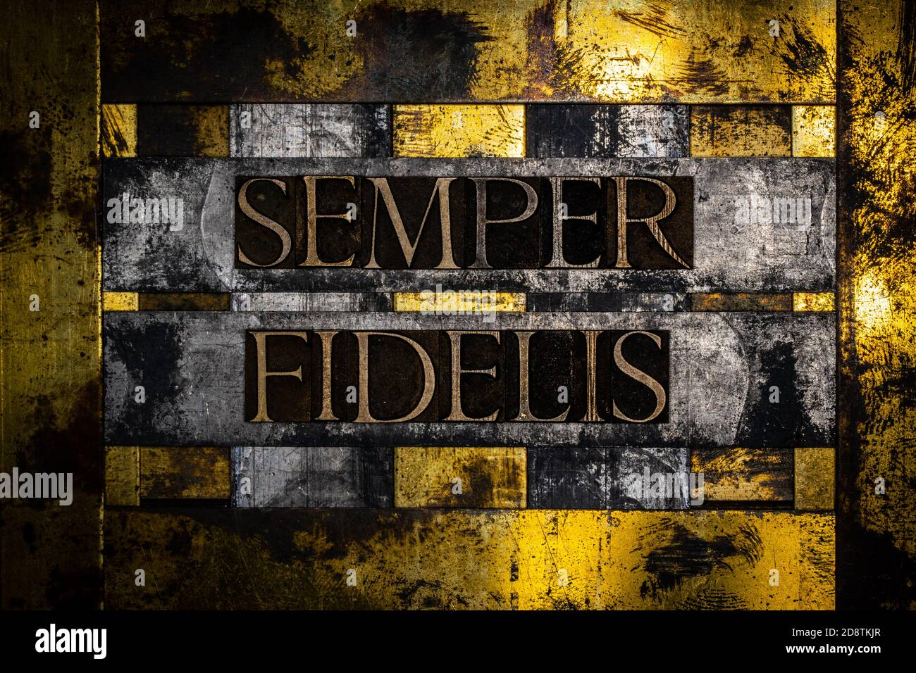 Semper Fidelis or Always Faithful text message on vintage textured grunge copper silver and gold background Stock Photo