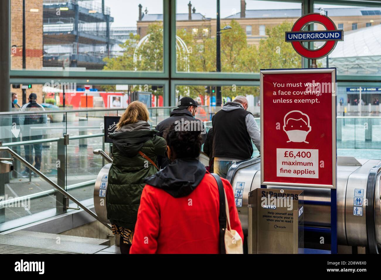 London Transport Mask Enforcement - up to £6500 fines for not wearing a face covering on the London Underground and Railway Stations. Stock Photo