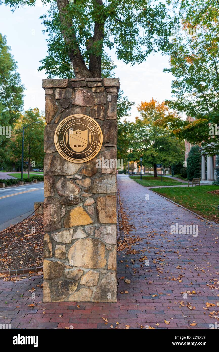 Chapel Hill, NC / USA - October 23, 2020: Stone entrance to the University of North Carolina Chapel hill with brick sidewalk Stock Photo