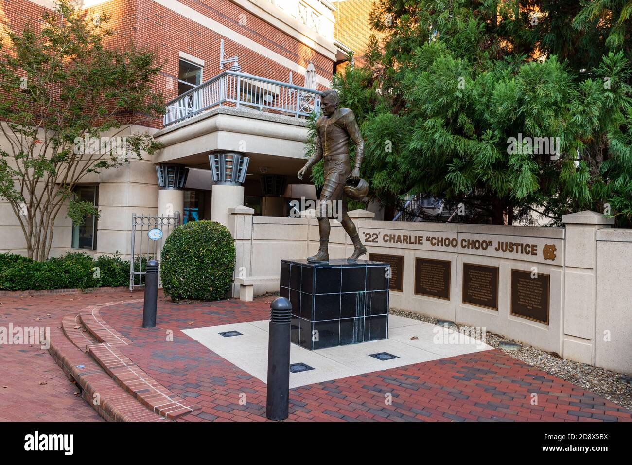 Chapel Hill, NC / USA - October 23, 2020: Charlie Choo Choo Justice Statue on the campus of the University of North Carolina Stock Photo