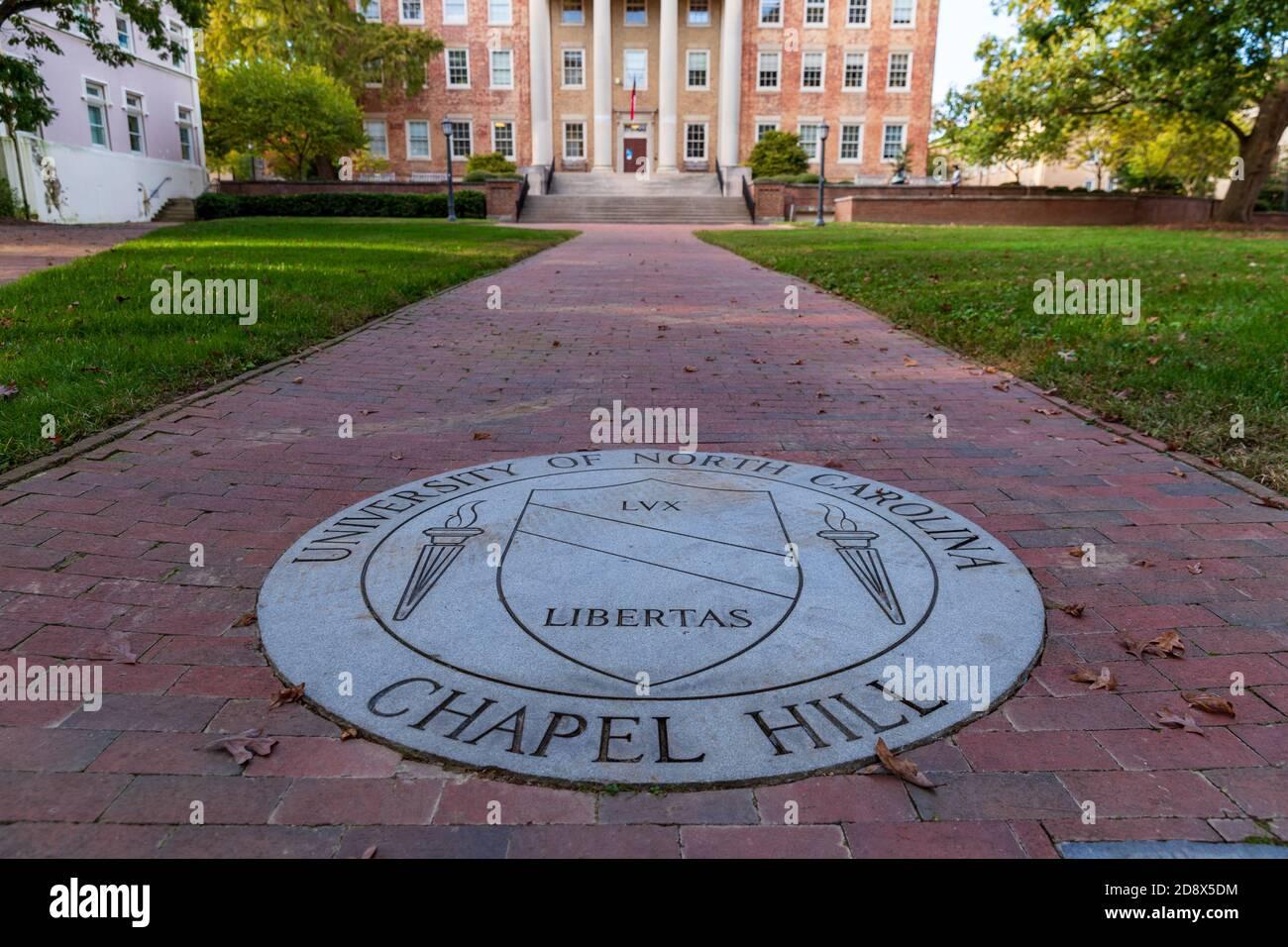 Chapel Hill, NC / USA - October 21, 2020: The University of North Carolina Chapel Hill Seal in brick walk way. Stock Photo