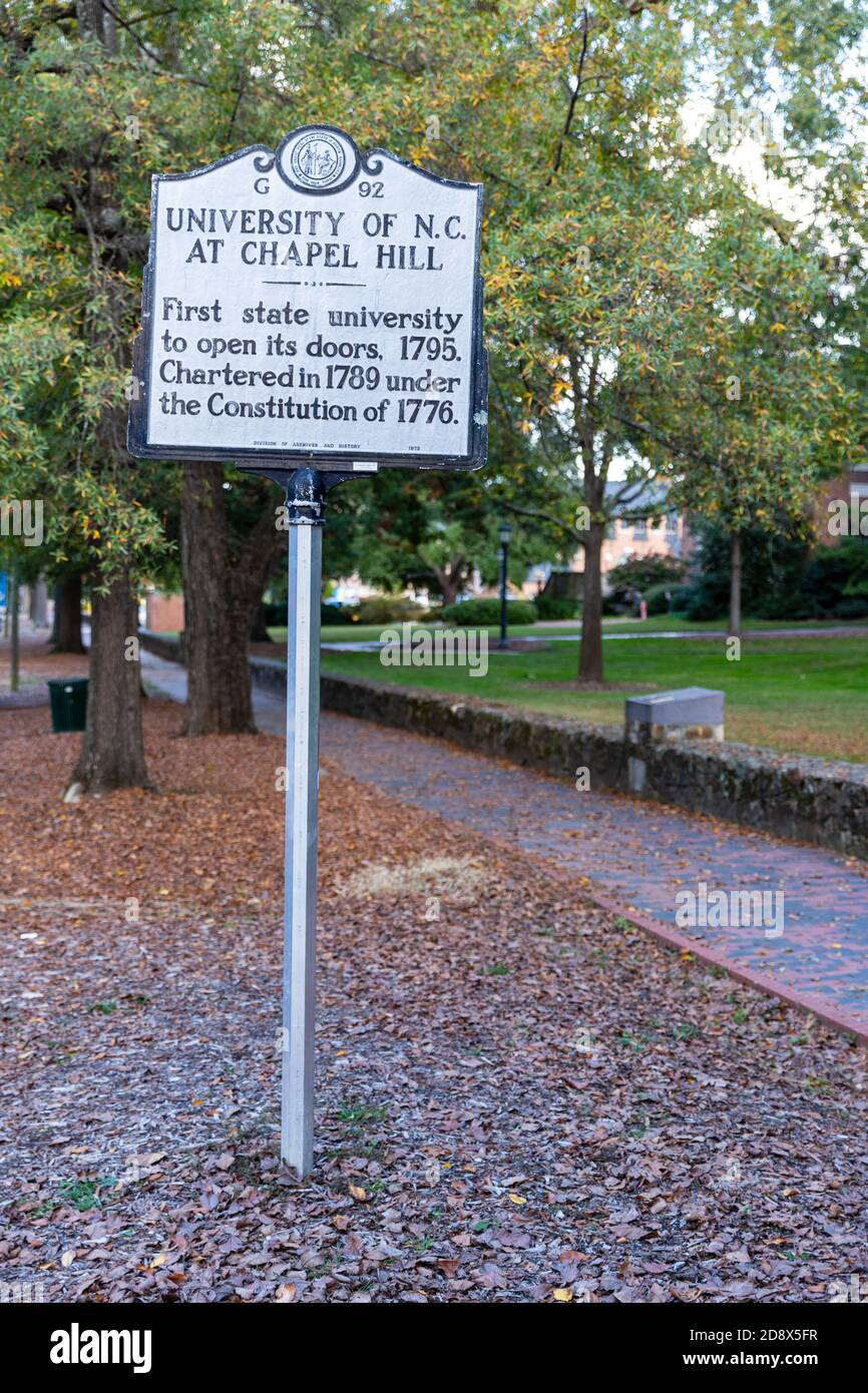 Chapel Hill, NC / USA - October 22, 2020: University of North Carolina at Chapel Hill historical marker, marking its open in 1795 Stock Photo