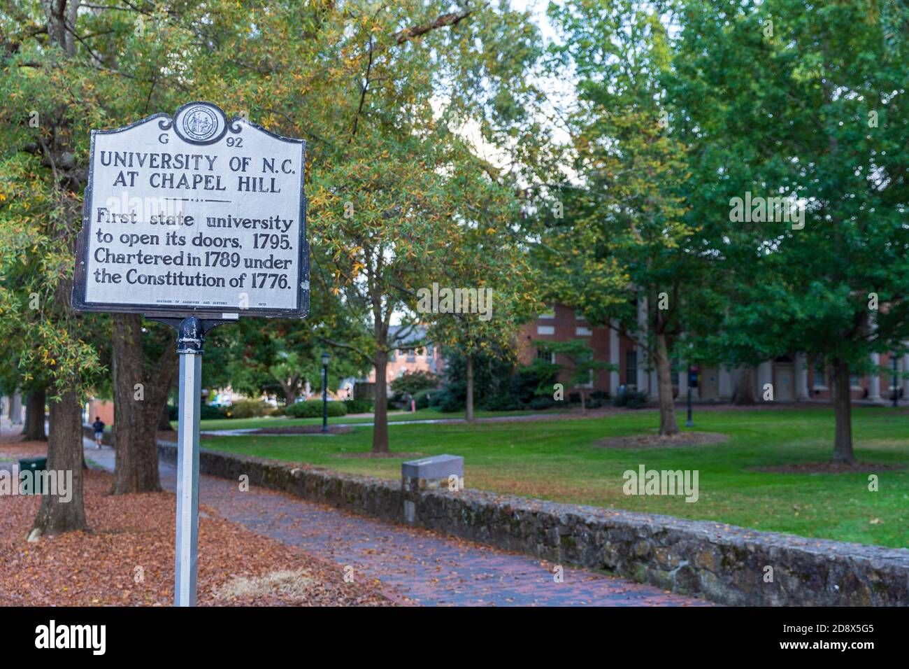 Chapel Hill, NC / USA - October 22, 2020: University of North Carolina at Chapel Hill, UNC,  historical marker, marking its open in 1795 Stock Photo