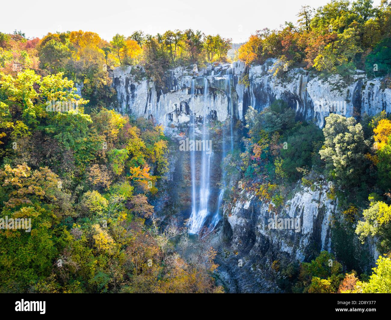 Benkovski slap waterfall canyon near Pican in Croatia Europe steep deep stone relief Autumnvibes Autumnvibe Autumnal Stock Photo