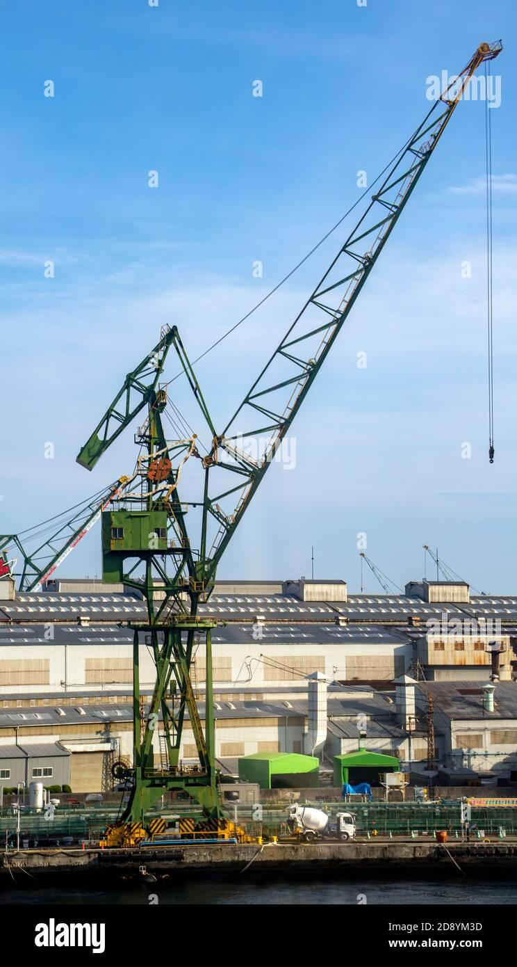 KOBE, JAPAN, JULY 01 2017, Crane on embankment - Kawasaki Heavy Industries Shipbuilding Dock in Kobe; Japan. Stock Photo