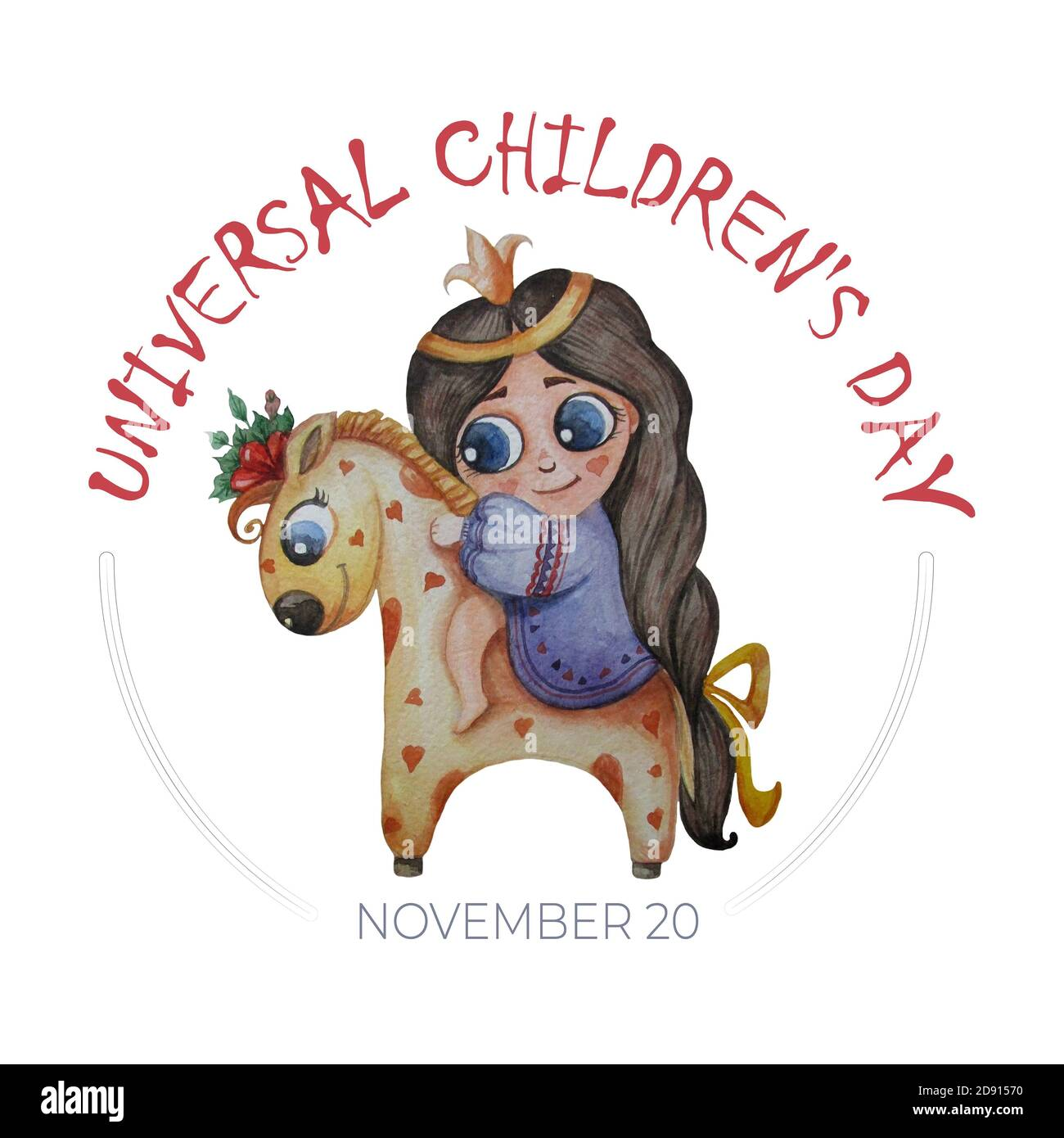 Universal Childrens Day Watercolor A Cute Princess With A Haircut And A Crown On A Beautiful Horse In Hearts And Flowers Hand Drawing On A White Stock Photo Alamy