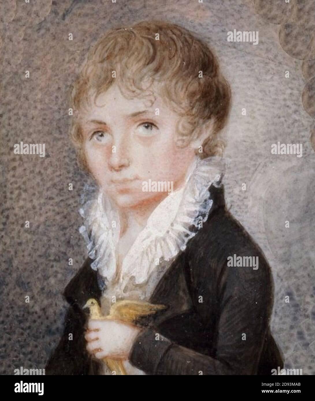 Józef Kosiński - Chłopiec z ptaszkiem. Stock Photo