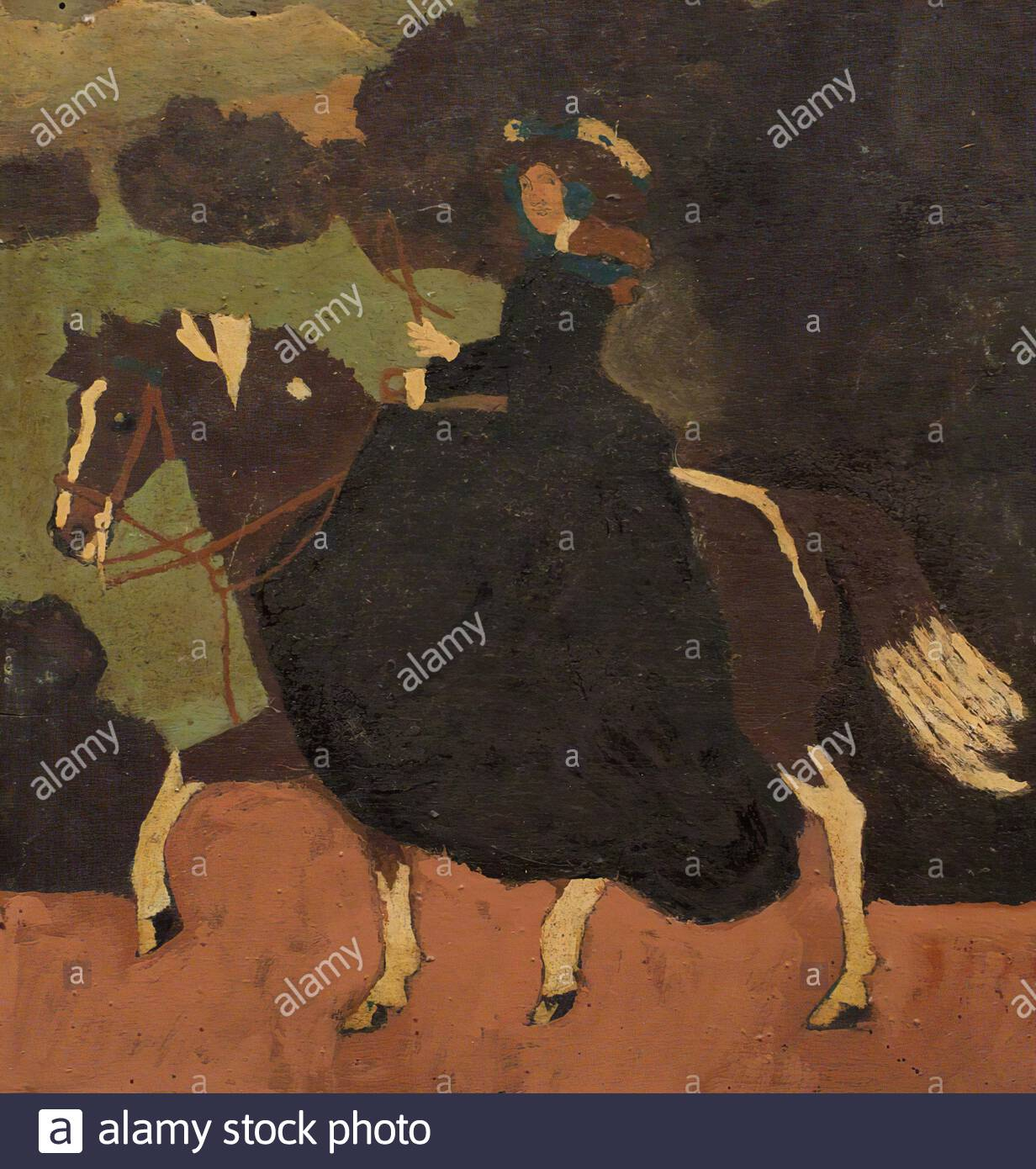 Unknown Artist Lady Riding A Horse Stock Photo Alamy