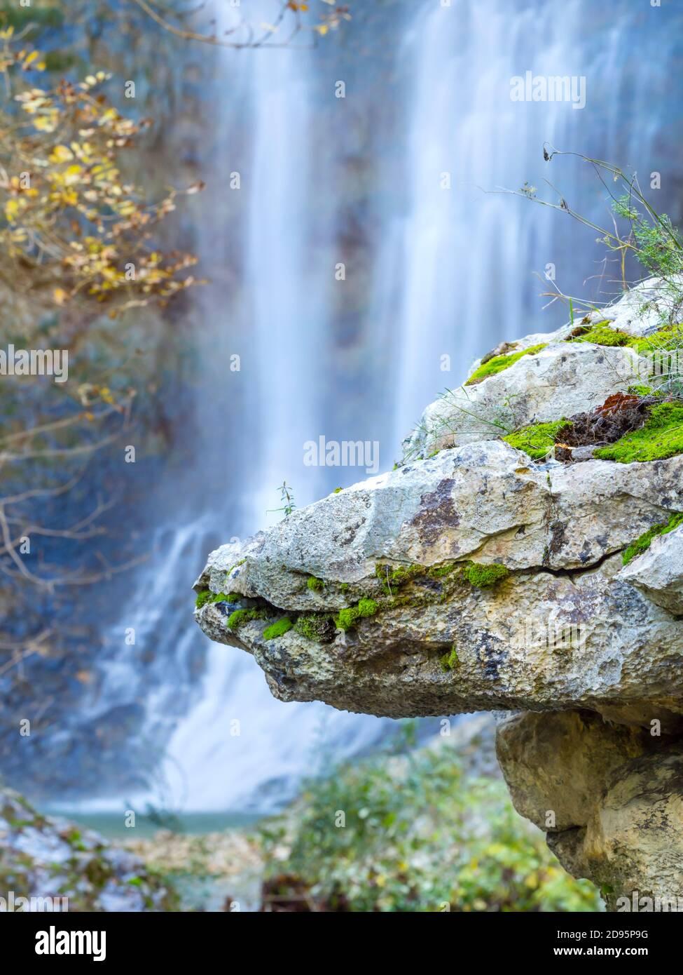 Big boulder rock balancing balance in Benkovski slap waterfall near Pican in Croatia Europe focus on rock Stock Photo