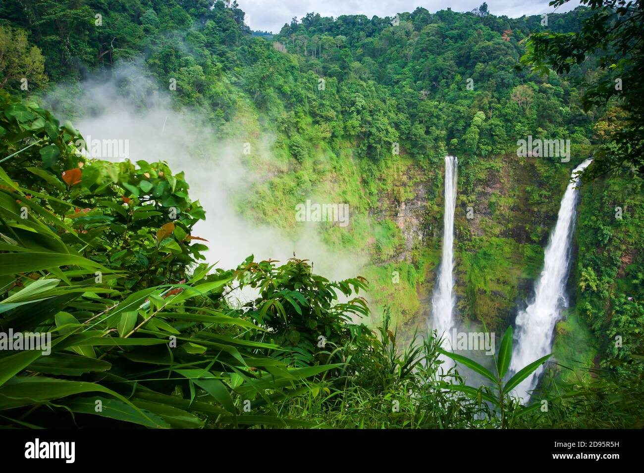 Scenery Tad Fane waterfalls in the morning mist, magical twin waterfall in rain season, tourist attractions in South Laos. Stock Photo