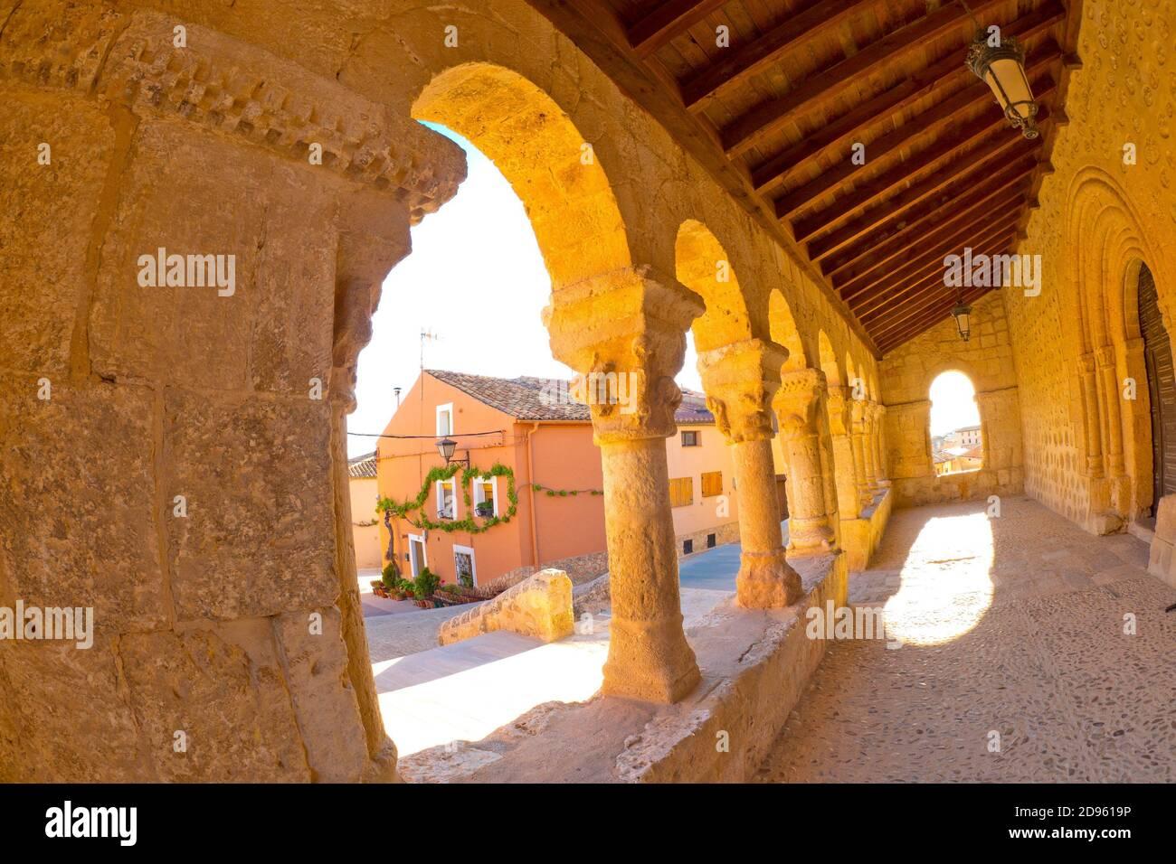 Church of San Miguel, 11th century Romanesque Style, Spanish National Heritage Site, San Esteban de Gormaz, Soria, Castilla y León, Spain, Europe. Stock Photo