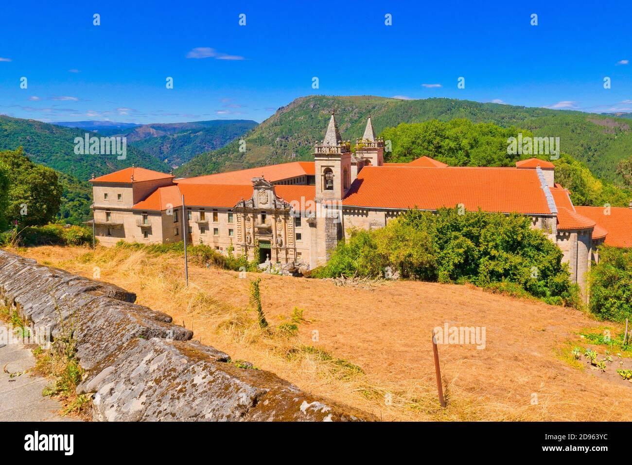 Monastery of San Estevo de Ribas de Sil, Spanish Property of Cultural Interest, Spanish National Heritage Site, Tourism Parador Spanish Luxury Hotel, Stock Photo
