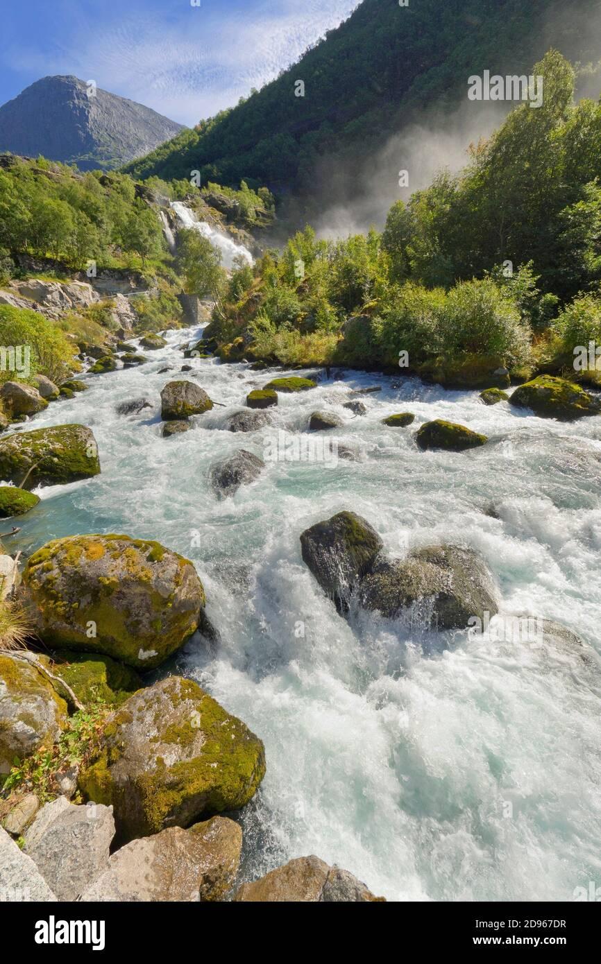 Briksdal Glacier River, Jostedalsbreen National Park, Norway, Scandinavia, Europe. Stock Photo
