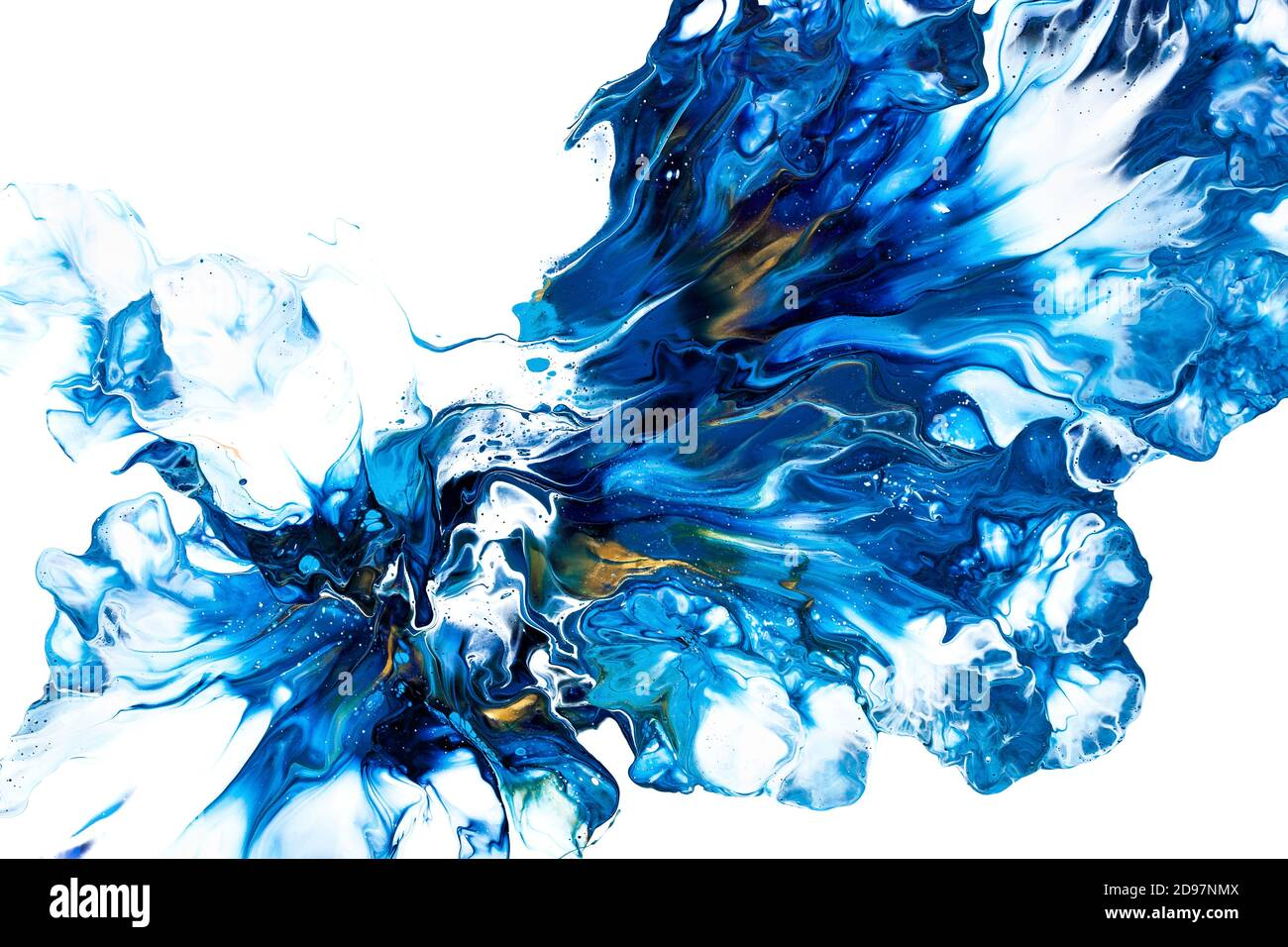 Acrylic Paint Pouring Fluid Art Abstract Flower Isolated On The White Background Floral Theme Stock Photo Alamy