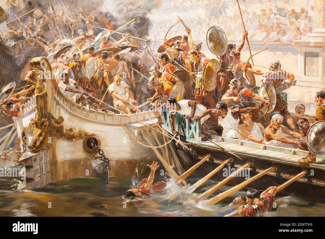 Naumachia, naval battle as mass entertainment in ancient Rome. Painted by Ulpiano Checa in 1894. Local Museum of Colmenar de Oreja, Spain. Detail. Stock Photo
