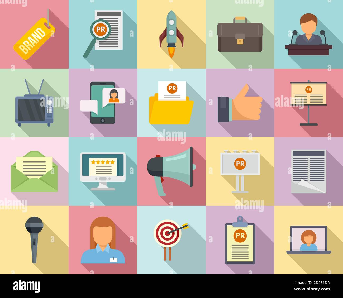 Pr Specialist Icons Set Flat Style Stock Vector Image Art Alamy